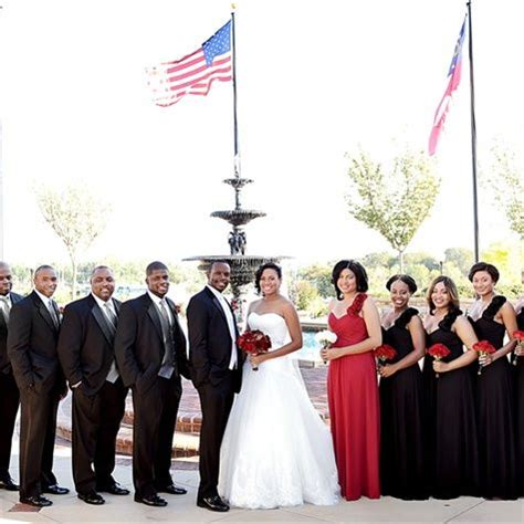 black white and red wedding party maybe maid of honor