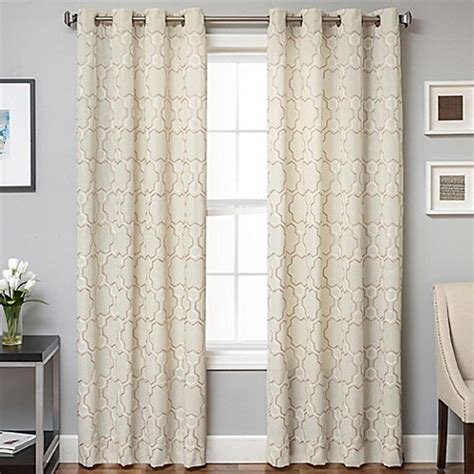 Buy lindbergh grommet top 96 inch window curtain panel in champagne from bed bath amp beyond