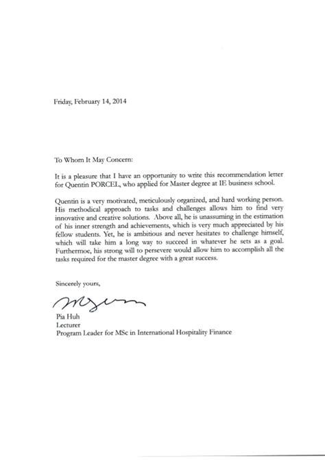 Reference Letter Need Signature letter of recommendation for msc finance tomyumtumweb