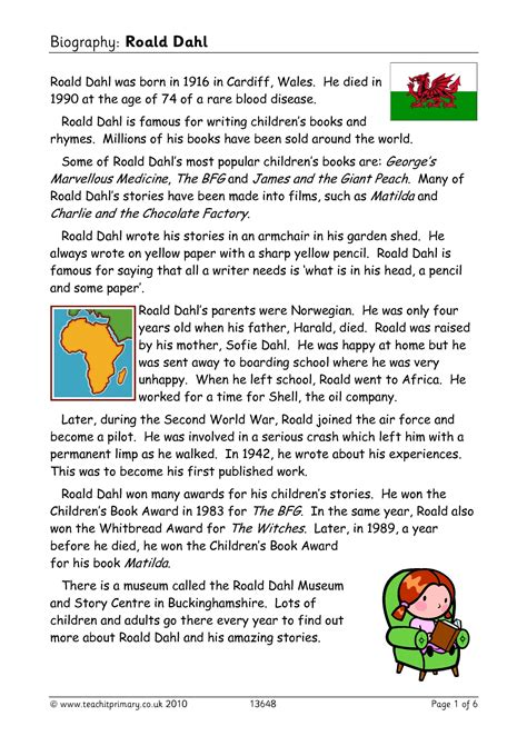 biography comprehension activity ks2 biography roald dahl biography and autobiography all