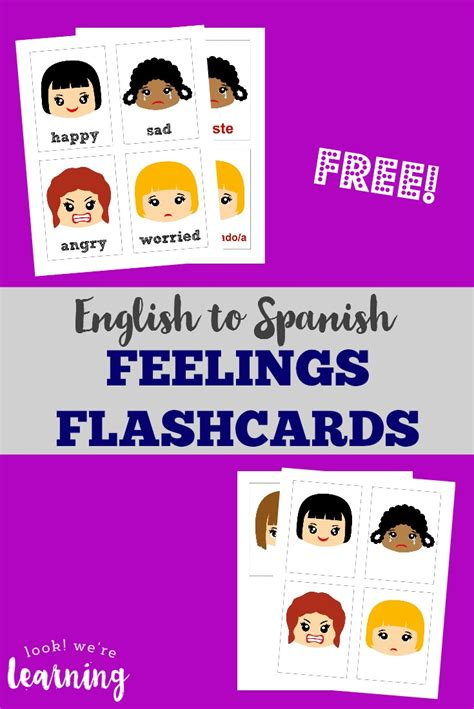 spanish english flashcards printable printable spanish feelings flashcards look we re learning