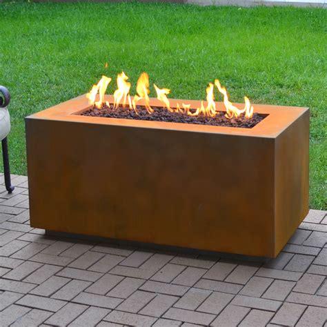 The Outdoor Plus Corten Steel Propane Fire Pit Table