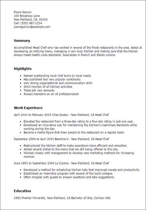 Culinary Resume by Culinary Resume Templates To Impress Any Employer Livecareer