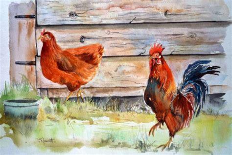 Eric Corbel Tableau Peinture Poules Coq Poulailler Volailles Au