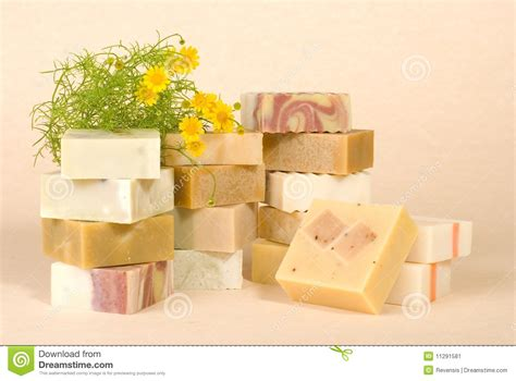 Herbal Handmade Soap - of handmade soap with herbal material stock image