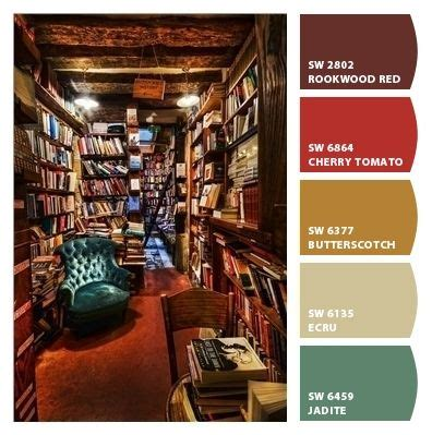 library inspired strong bold scheme palette living room dining room den basement kitchen