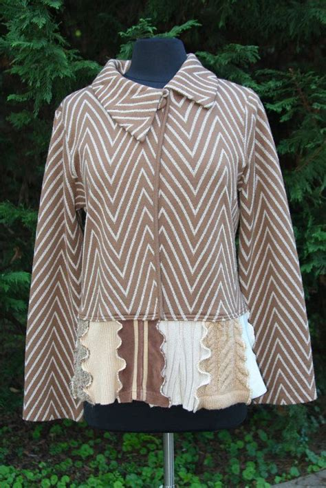 reserved for caramel chevron s jacket upcycled