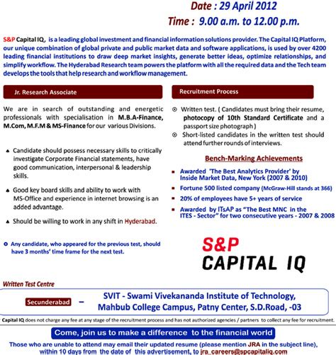 Capital Iq Questions For Mba Finance Freshers by S And P Capital Iq Walkin As Financial Research On April