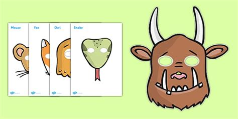 printable masks for world book day the gruffalo role play masks the gruffalo resources mouse