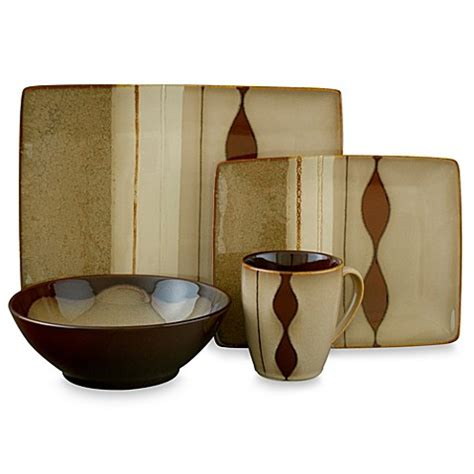 sango prelude brown 16 dinnerware set bed bath
