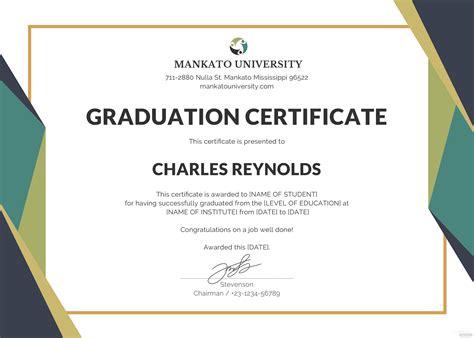 graduation certificate template  microsoft word