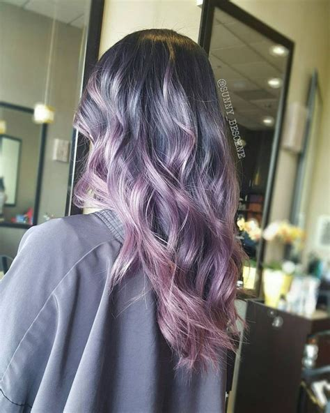 Vc84912 Black Pink Blue Gray ashy purple to pink melt hair color pinteres