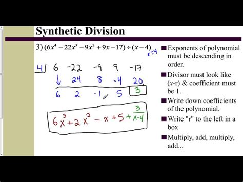 lesson 6 2 part 2 synthetic division with a binomial