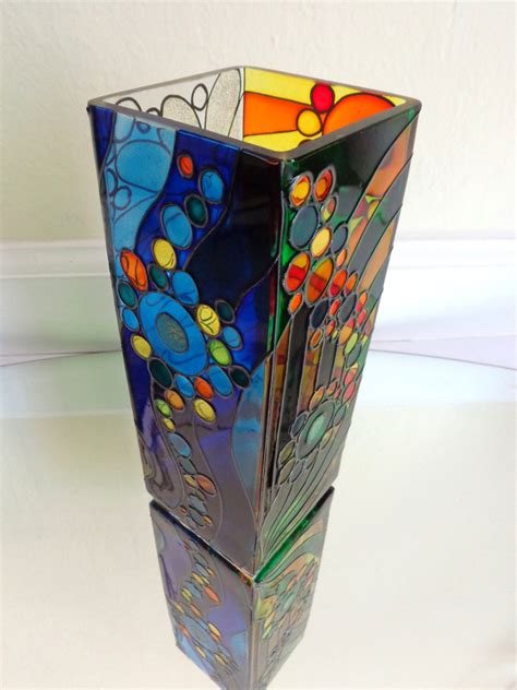 Stained Glass Vases Abstract Vase Hand Painted Glass Stained Glass By