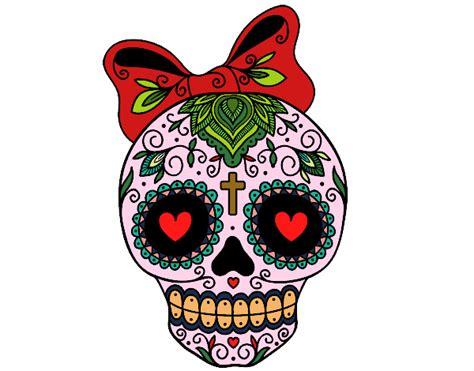 imagenes de calaveras kawaii dibujo de calavera mejicana con lazo pintado por
