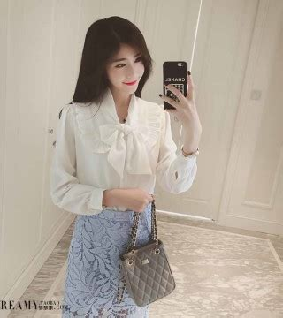 Special Rok Korea Pita Kuning Import Terbaru blouse putih pita lengan panjang 2016 model terbaru