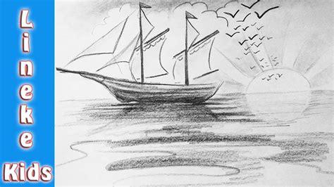 zeilboot op zee hoe teken je een zeilboot op zee met zonsondergang in