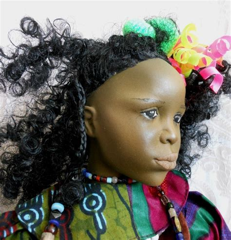 porcelain doll number 5 back fanciful black porcelain one of a artist doll from