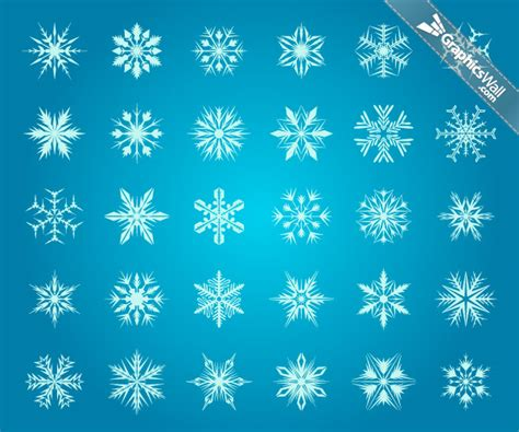 Snowflake Wall Stickers 30 snowflakes vector set 10 graphicswall