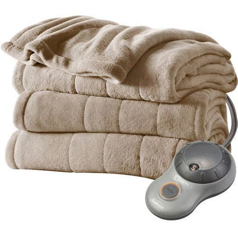 electric blanket sunbeam heated plush electric blanket walmart