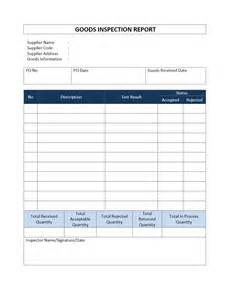 inspection report template incoming goods inspection report