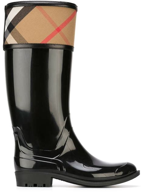 burberry boots sale burberry house check boots in black lyst