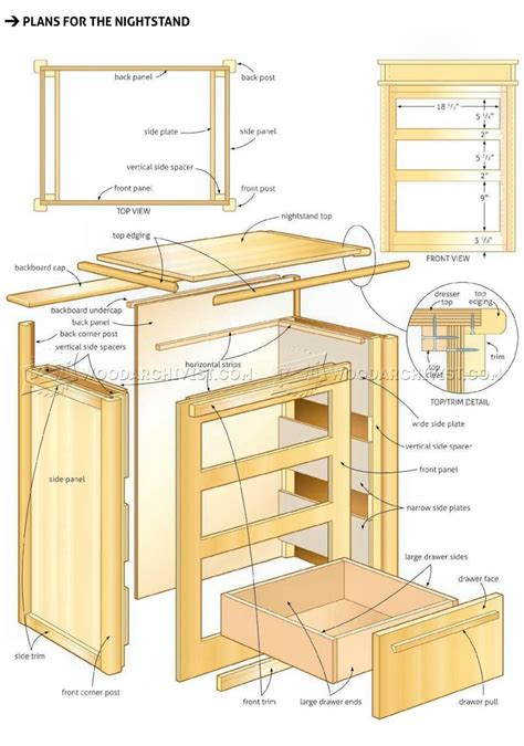 bed  nightstand plans woodarchivist