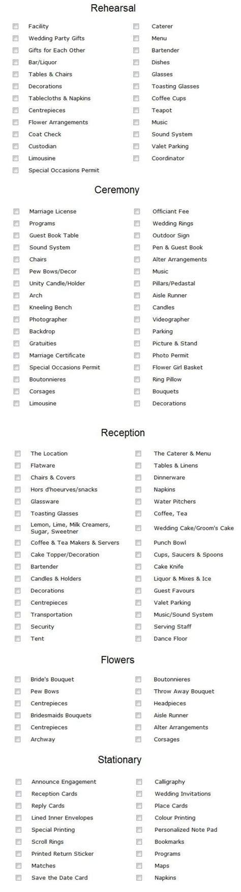Wedding Checklist Reception by 25 Best Ideas About Reception Checklist On