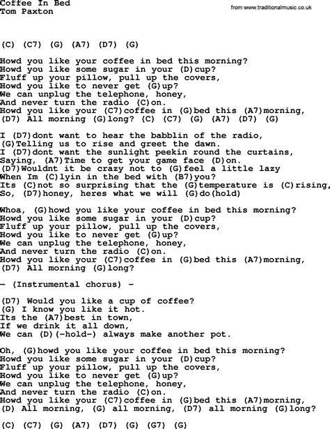coffee in bed by tom paxton lyrics and chords