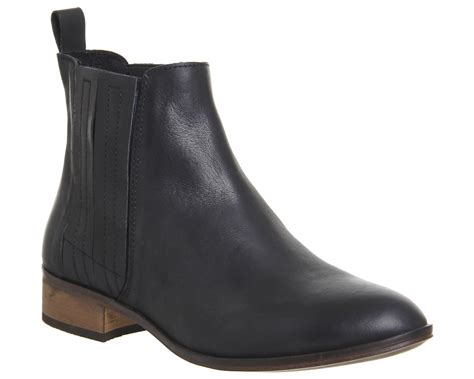 office ashton flat chelsea boots black leather ankle boots