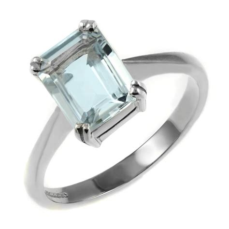 Aquamarine Rings by 9ct White Gold 8x6mm Emerald Cut Aquamarine Ring