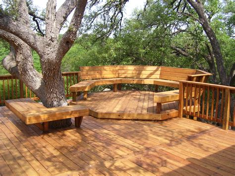 cool bench ideas desks big leavy trees round bench cool outside decks