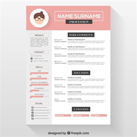 Resume Templates Vector 10 Top Free Resume Templates Freepik
