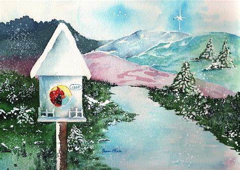 Hummingbird House Plans a snowy cardinal day christmas card painting by sharon mick
