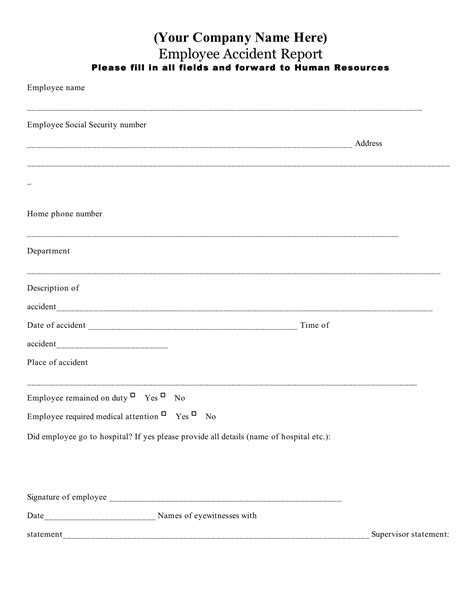 workplace injury report form template best photos of employee report form employee
