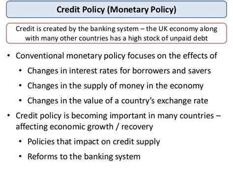 Format Of Credit Policy As Macro Revision Monetary Policy And Exchange Rates