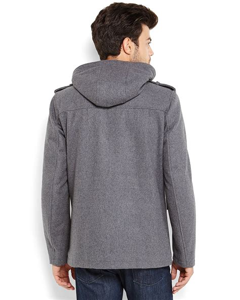 Wool Blend Jacket by Lyst Guess Grey Hooded Wool Blend Jacket In Gray For