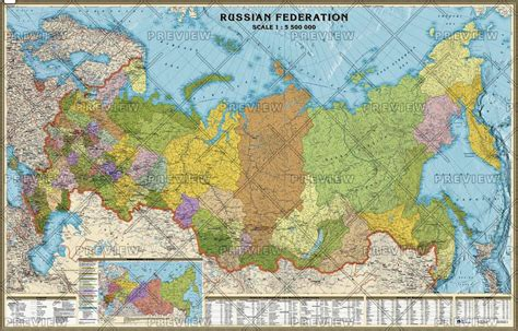 large wall map russia administrative large wall map by agt