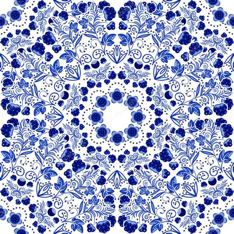 wallpaper blue china seamless floral pattern blue ornament of berries and