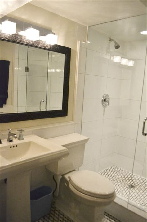 large white wall tiles bathroom basement bathroom with basketweave floor and large white