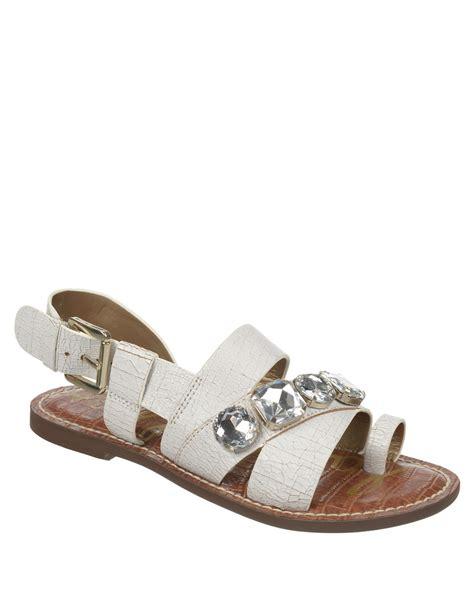 white rhinestone sandals lyst sam edelman dailey leather strappy rhinestone