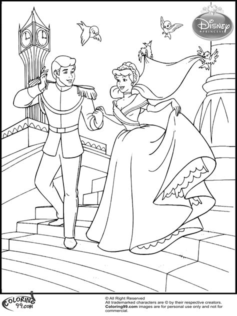 cinderella bride coloring pages free coloring pages of cinderella and prince
