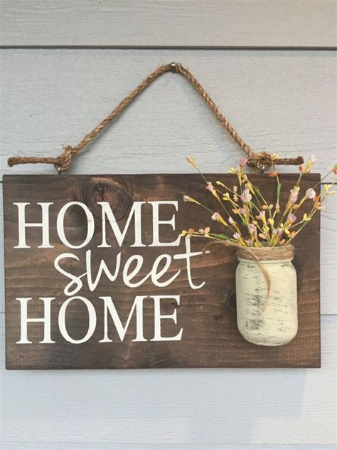 jar home sign home sweet home sign rustic home