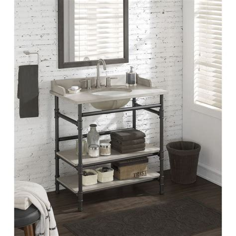 bathroom vanity open shelves use rattviken sink top with pipe fittings 36 inch industrial open shelf vanity with backsplash