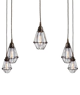 pendant cluster ceiling light with 5 industrial style cage lights steel cage black 3 light pendant