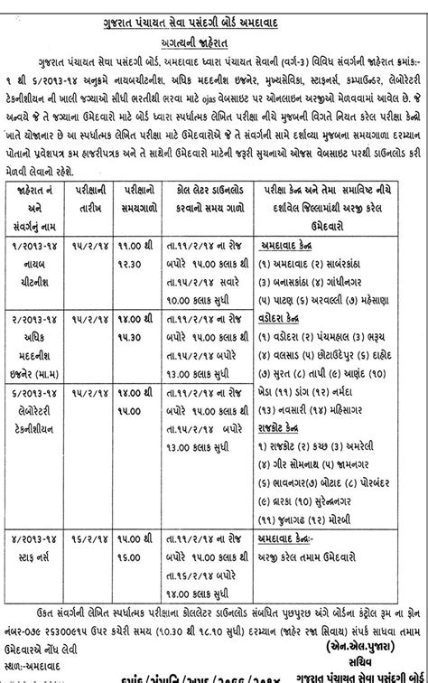 Official Notification Letter 2014 Gujarat Panchayat Seva Pasandgi Board Call Letter Notification