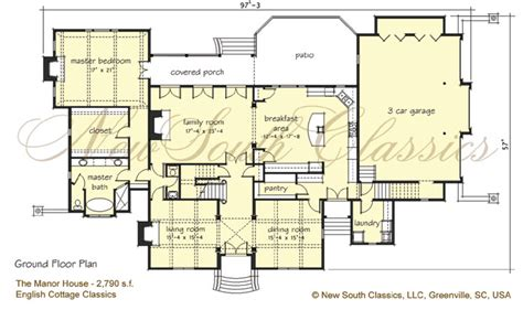 manor house plans new south classics the manor house