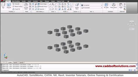 autocad tutorial youtube 2010 autocad 3d array command tutorial autocad 2010