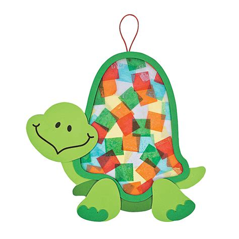 Paper Turtle Craft - colorful turtle tissue paper craft kit tissue paper