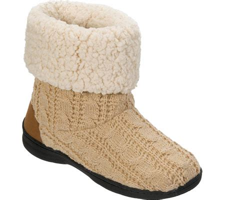 cable knit slipper boots womens dearfoams cable knit boot slipper with memory foam